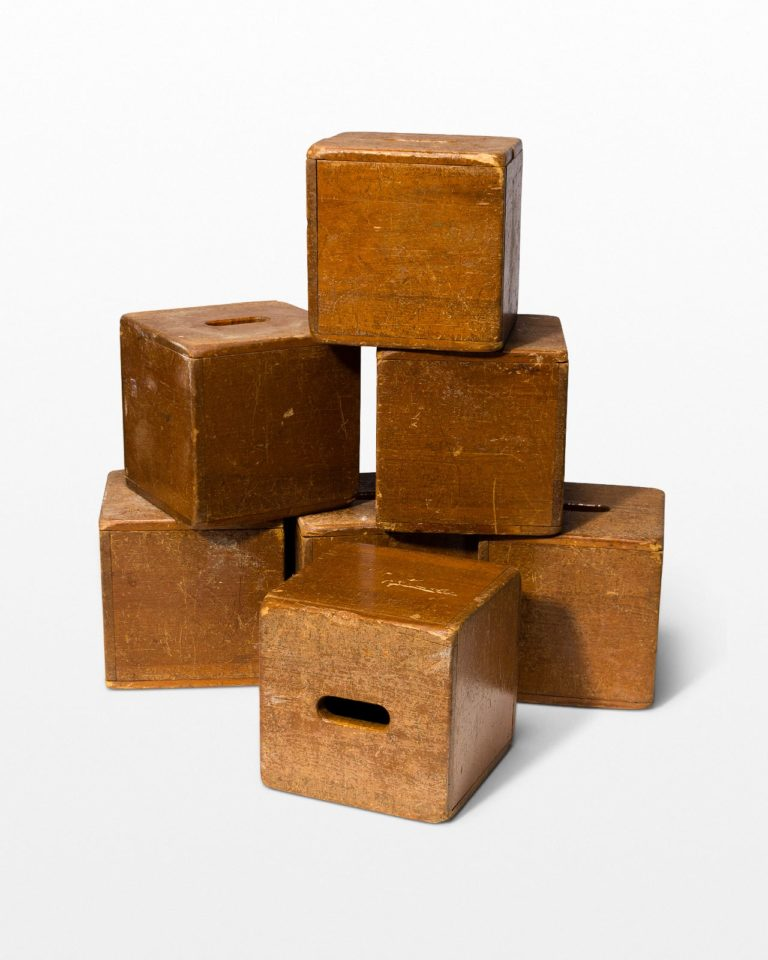 Front view of Custer Wooden Cube Set