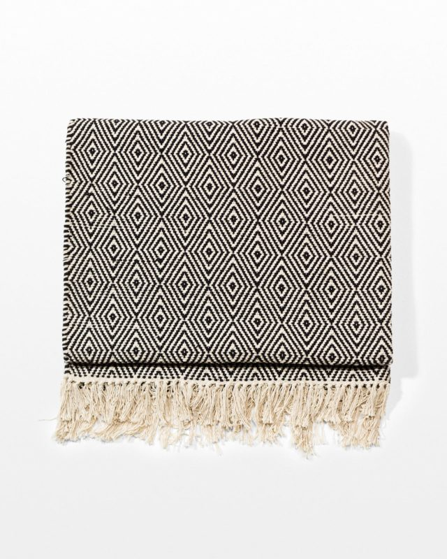 Front view of Black and White Diamond Throw