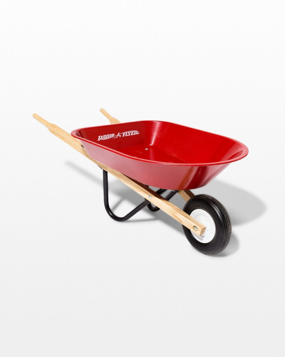 Front view of Child's Red Wheelbarrow