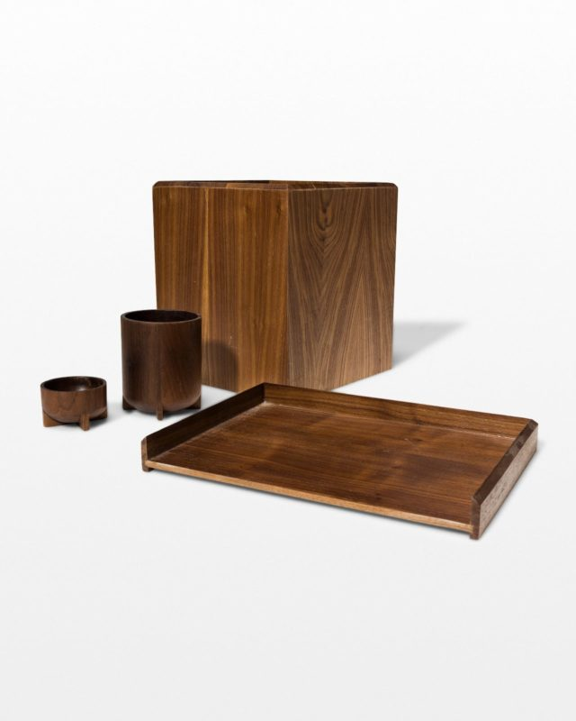 Front view of Dante Wood Desk Set