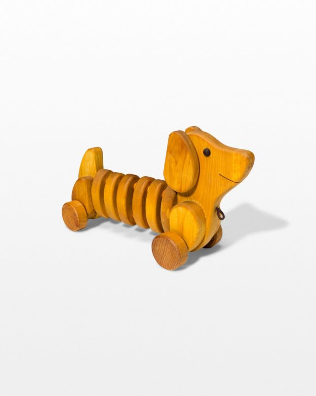 Front view of Wiggly Wooden Dog Toy
