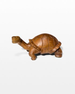 Front view of Toni Carved Wooden Turtle