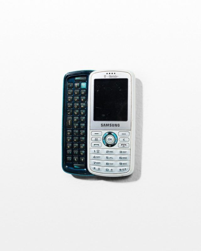Front view of White Samsung Sliding Keyboard Mobile Phone