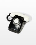 Front view thumbnail of Checker Black and White Rotary Phone