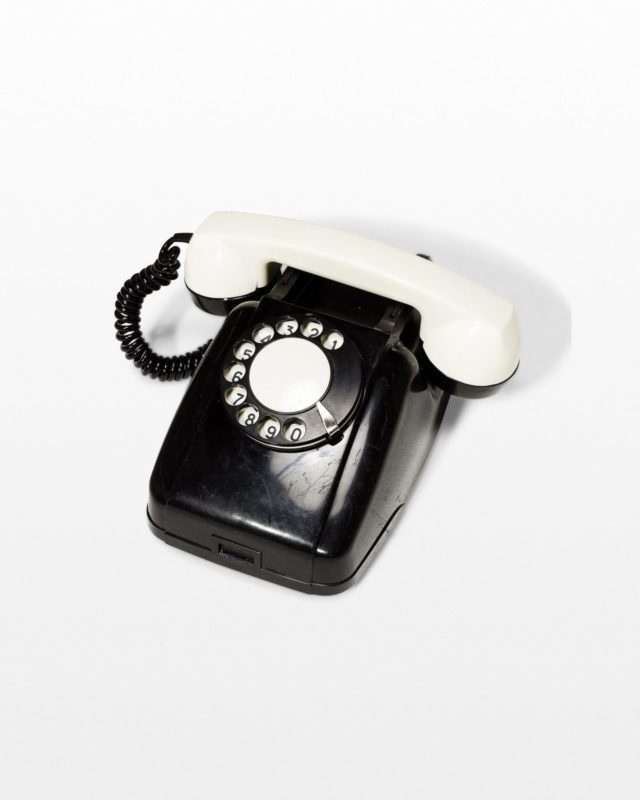 Front view of Checker Black and White Rotary Phone