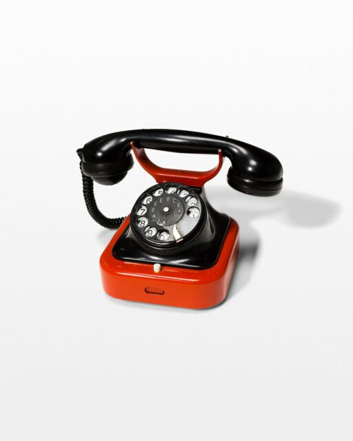 Front view of Charm Red And Black Rotary Phone