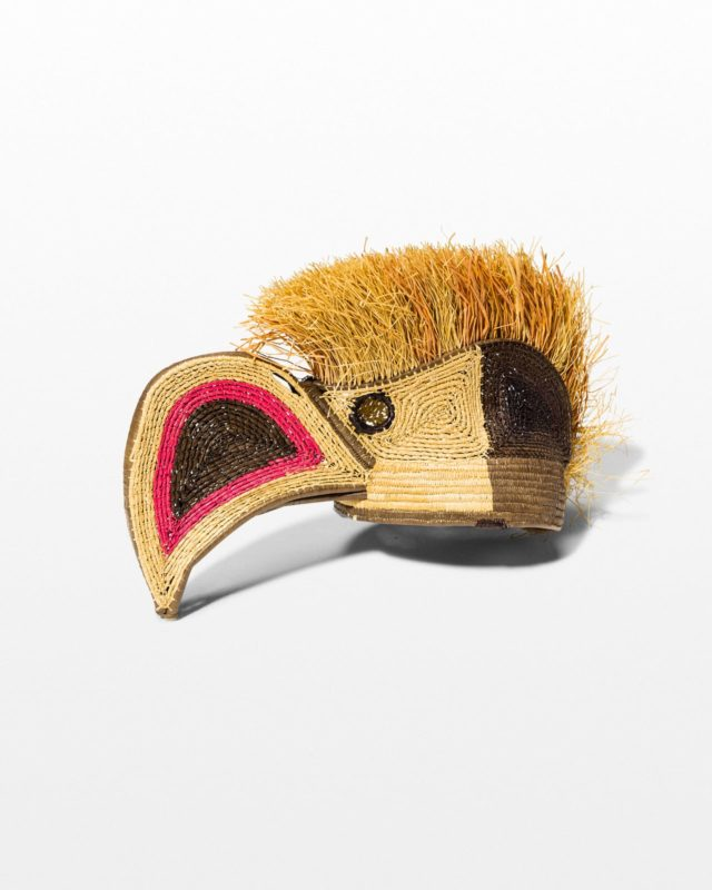 Front view of Woven Bird Beak Mask Hat