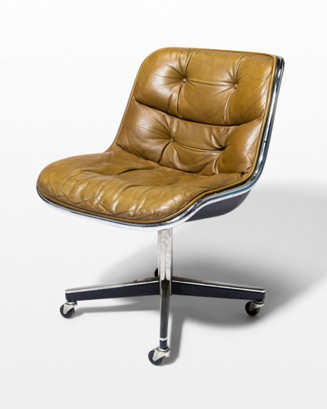 Front view of Jag Rolling Tufted Leather Chair