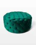 Front view thumbnail of Combe Round Green Velvet Ottoman