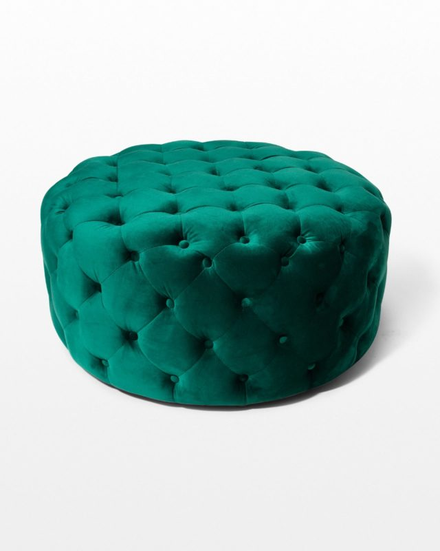 Front view of Combe Round Green Velvet Ottoman