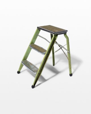 Front view of Bell Distressed Green Aluminum Step Ladder