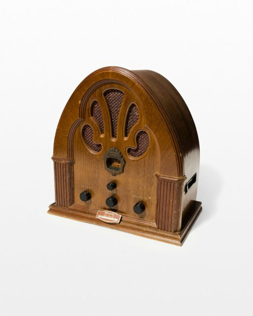 Front view of Lazaro Antique Wooden Radio