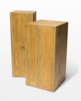 Front view of Bow Reclaimed Wood Pedestal Set