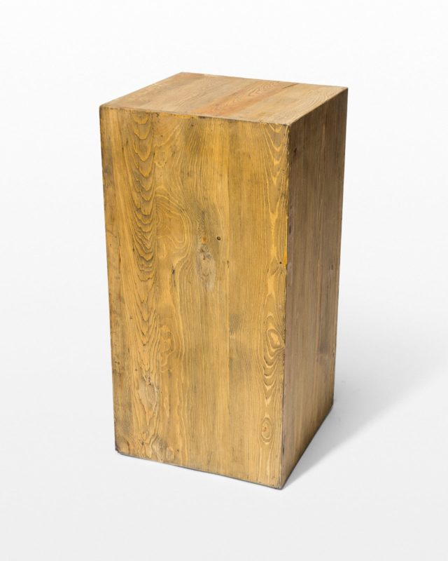 Front view of Bow Low Reclaimed Wood Pedestal