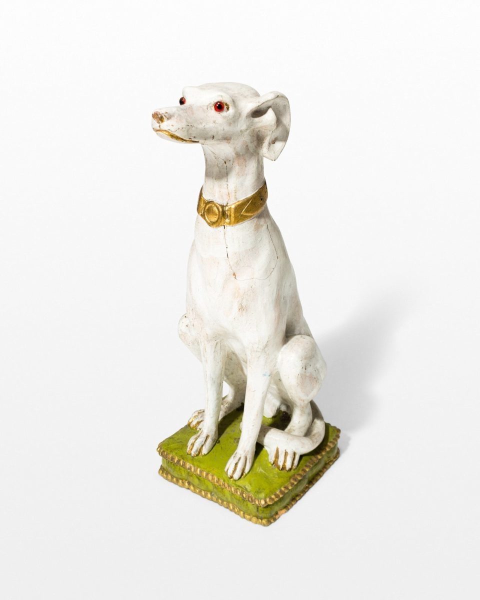 Front view of Fido White Dog Sculpture
