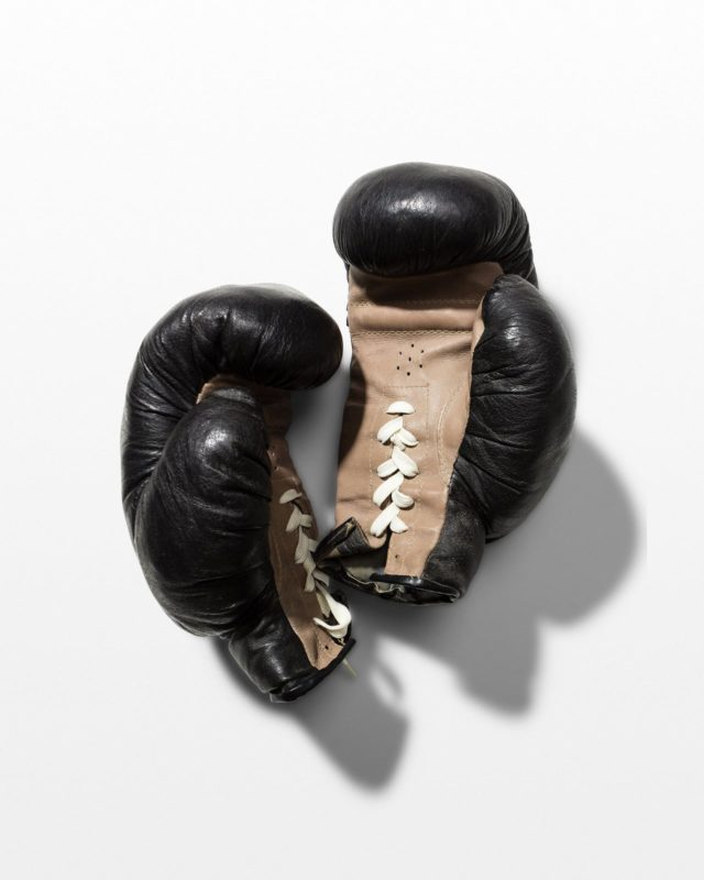 Front view of Oscar Black Leather Boxing Gloves