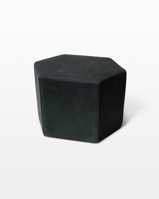 Front view of Astoria Black Leather Ottoman