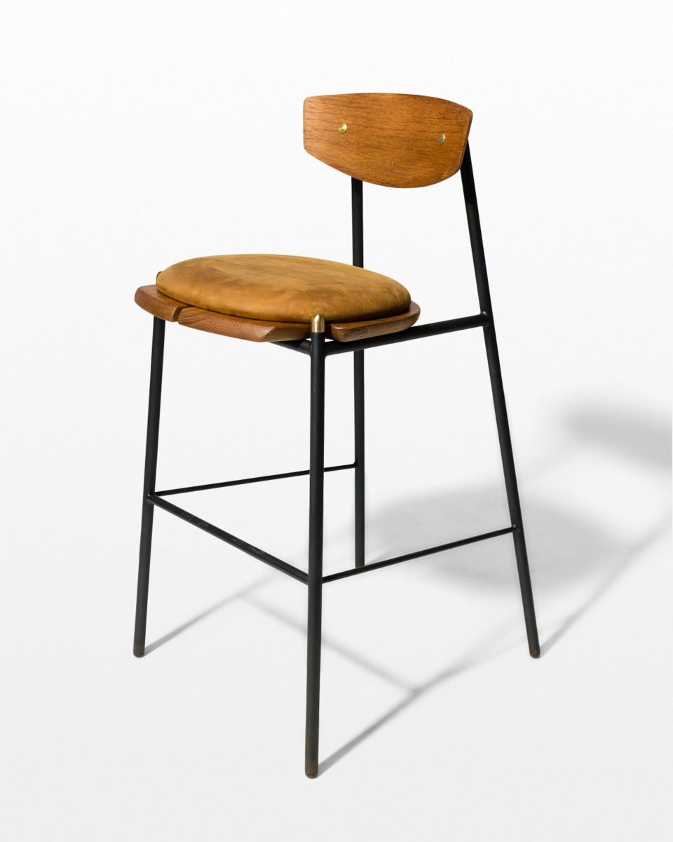 Front view of Chadwick Oak and Leather Stool