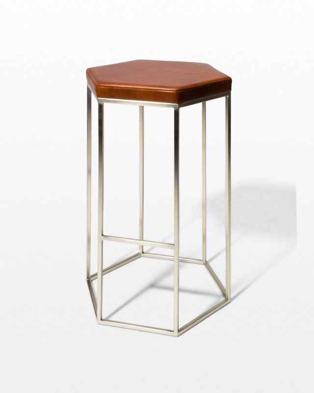 Front view of Stanza Leather Hexagon Stool