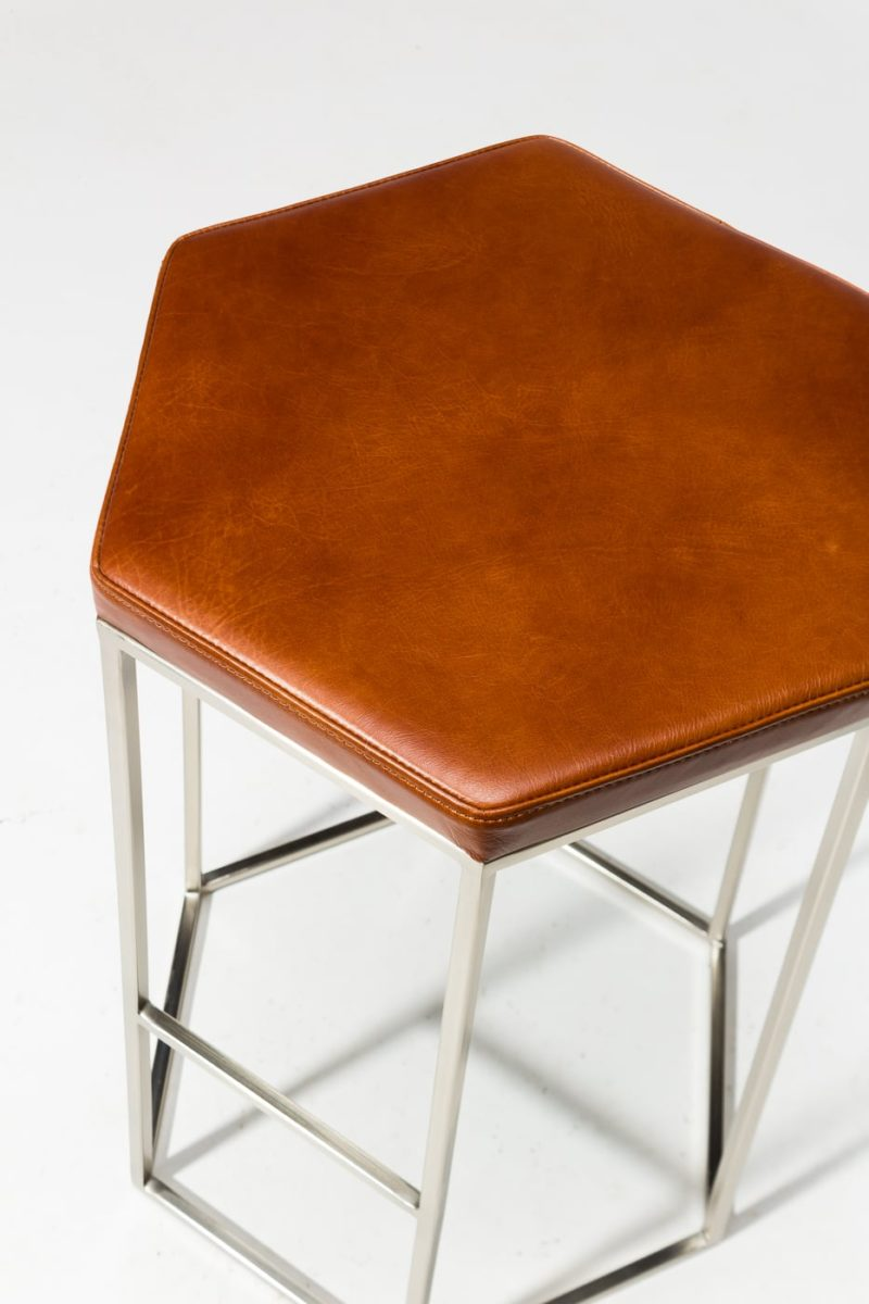 Alternate view 1 of Stanza Leather Hexagon Stool