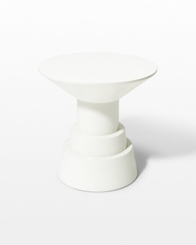 Front view of South White Lacquer Side Table Pedestal