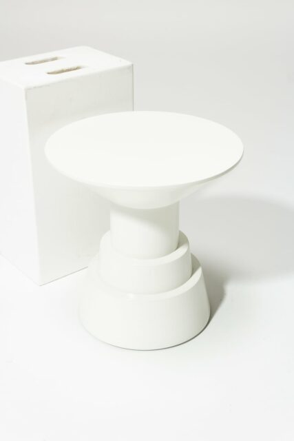 Alternate view 1 of South White Lacquer Side Table Pedestal