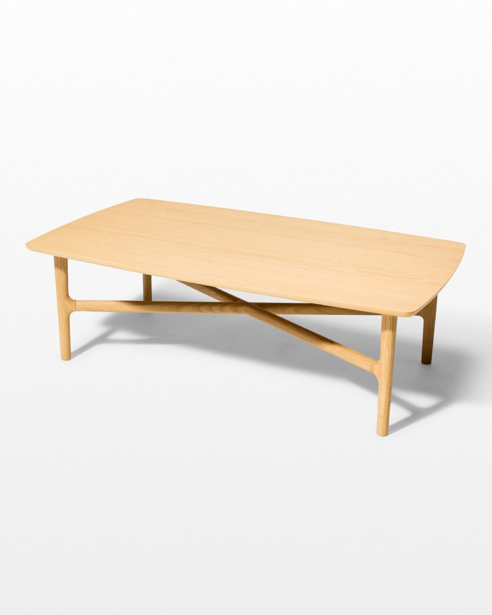 Front view of Bevel Light Oak Coffee Table