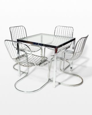 Front view of Kip Square Chrome Table and Alpha Chairs Set