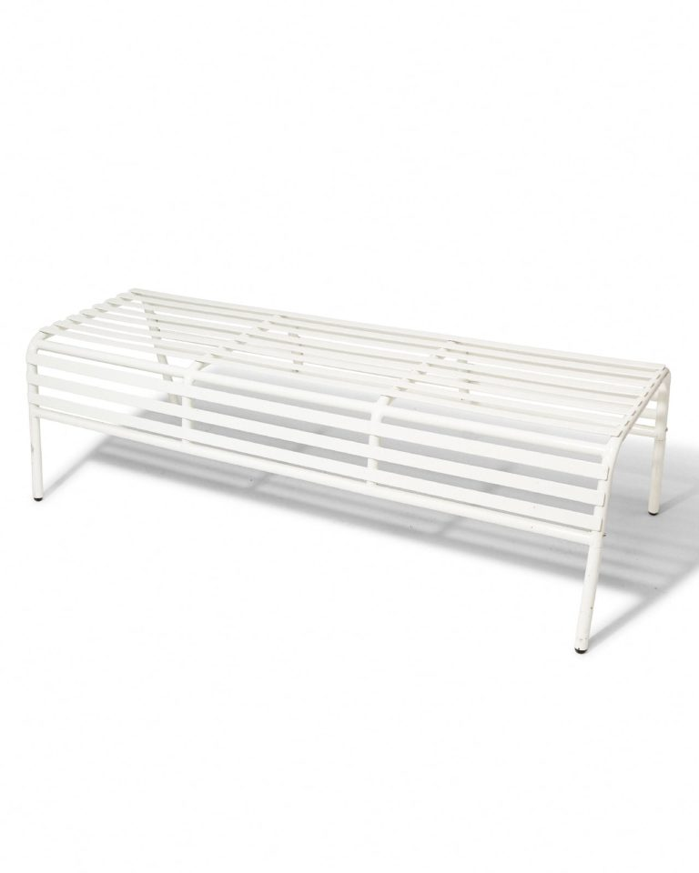 Front view of Heaton White Grid Bench