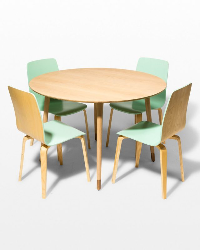 Front view of Brass Toe and Foam Dining Set