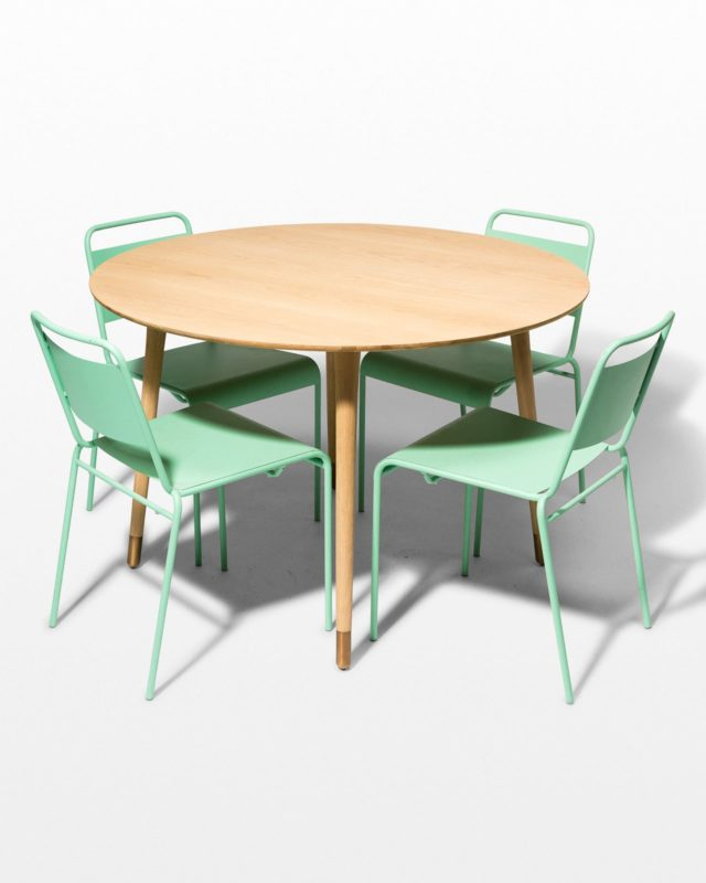 Front view of Brass Toe and Mint Metal Dining Set