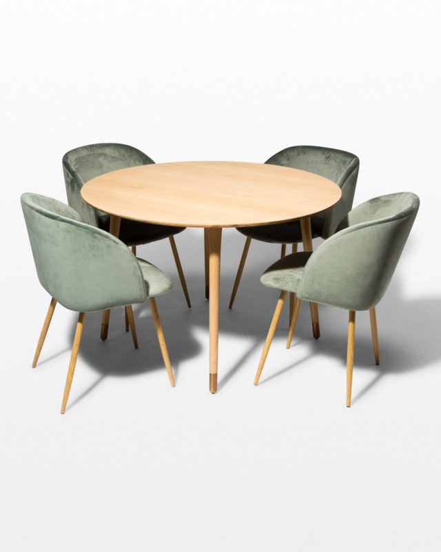 Front view of Brass Toe and Lana Green Dining Set