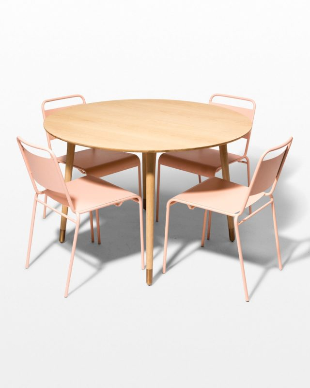 Front view of Brass Toe and Blush Pink Metal Dining Set