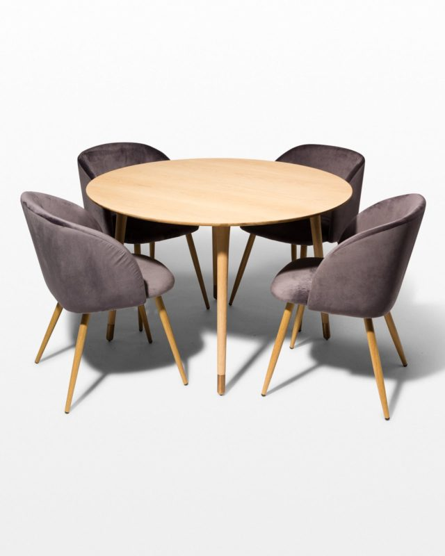 Front view of Brass Toe and Mist Grey Dining Set
