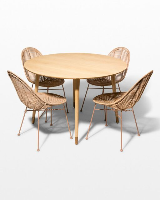 Front view of Brass Toe and Isla Rattan Dining Set