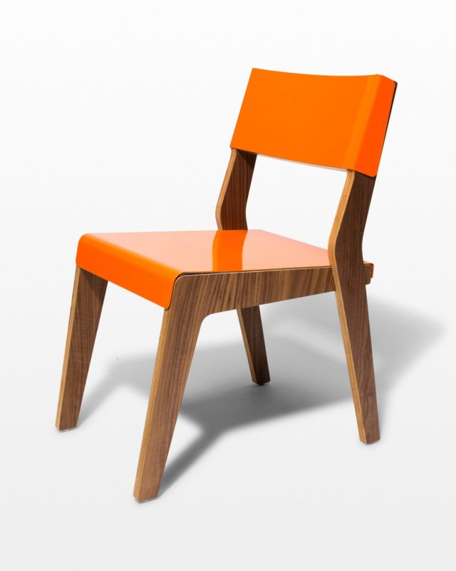 Front view of Robert Orange and Walnut Chair