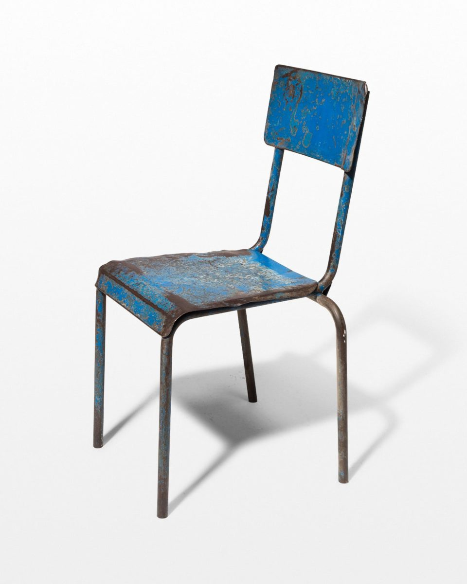 Front view of Corbin Distressed Blue Metal Chair