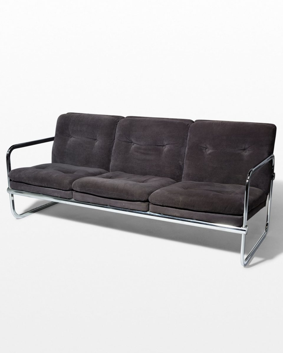 Front view of Borman Velvet and Chrome Sofa