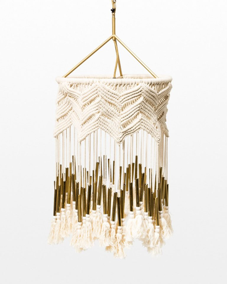 Front view of Effie Macrame Bead Chandelier