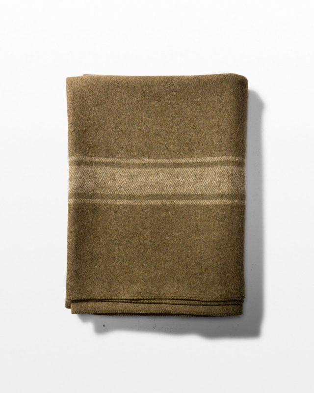 Front view of Harrison Olive Wool Blanket