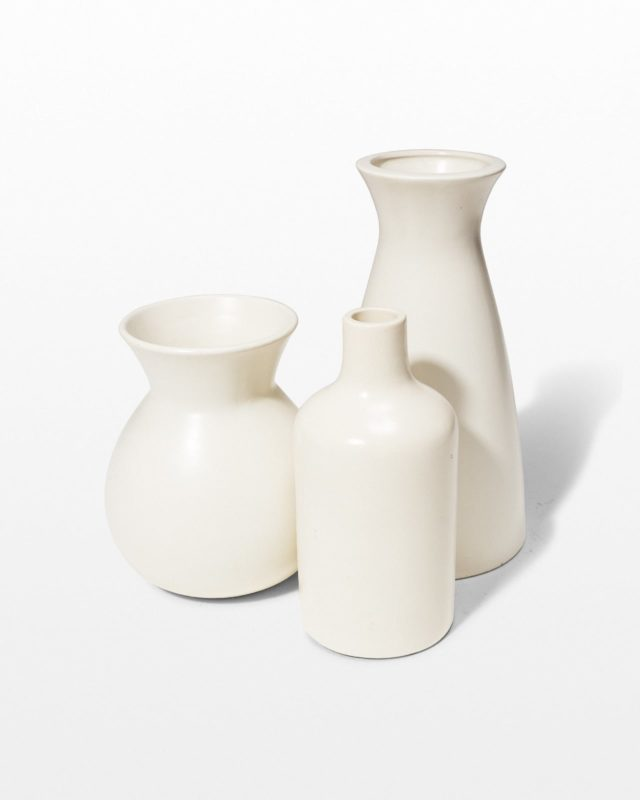 Front view of Press Cream Ceramic Vase Trio