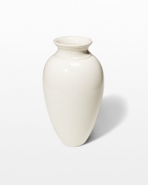 Front view of Mode Glazed White Vase