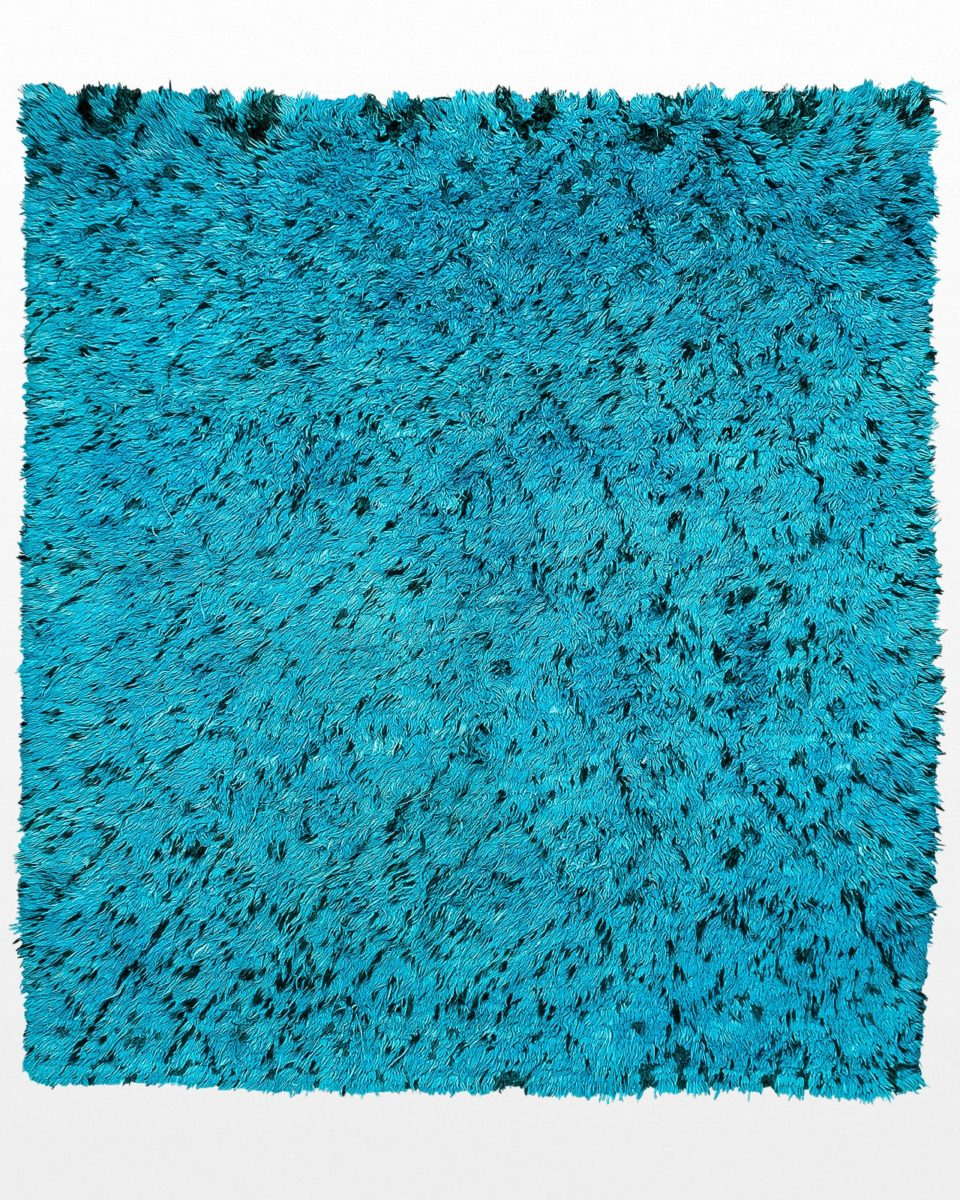 Front view of Xander Turquoise Shag 9' x 8' Rug