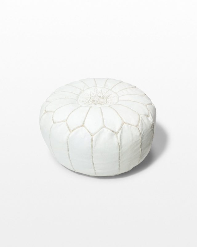 Front view of Sven White Leather Pouf
