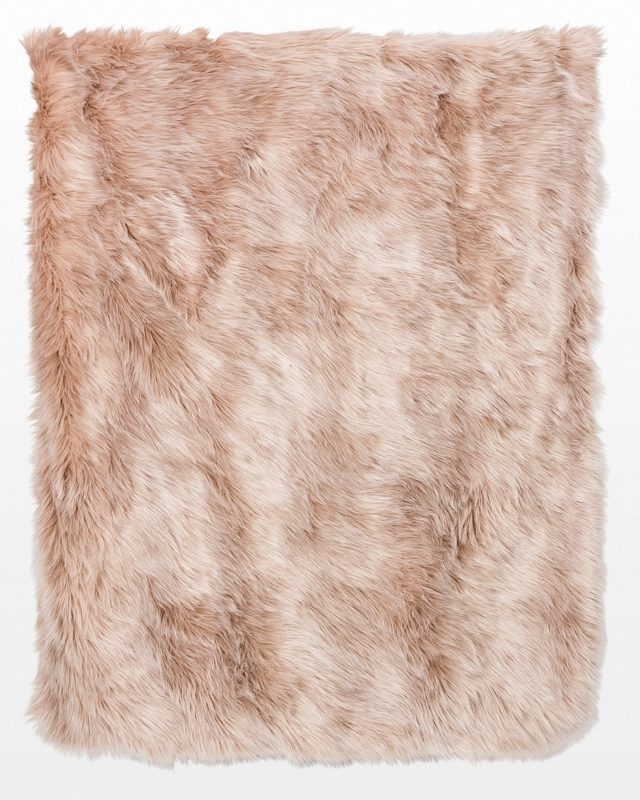 Front view of Meryl Blush 4' x 5' Fur Throw