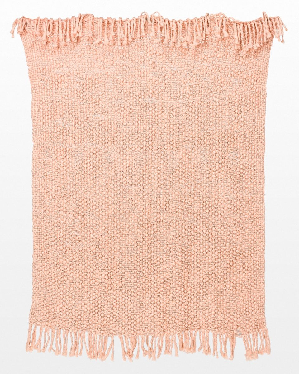 Front view of Pom Pink Throw