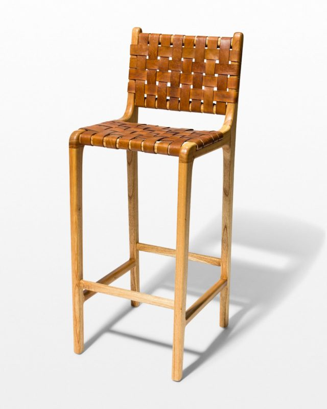 Front view of Hatch Woven Leather Stool