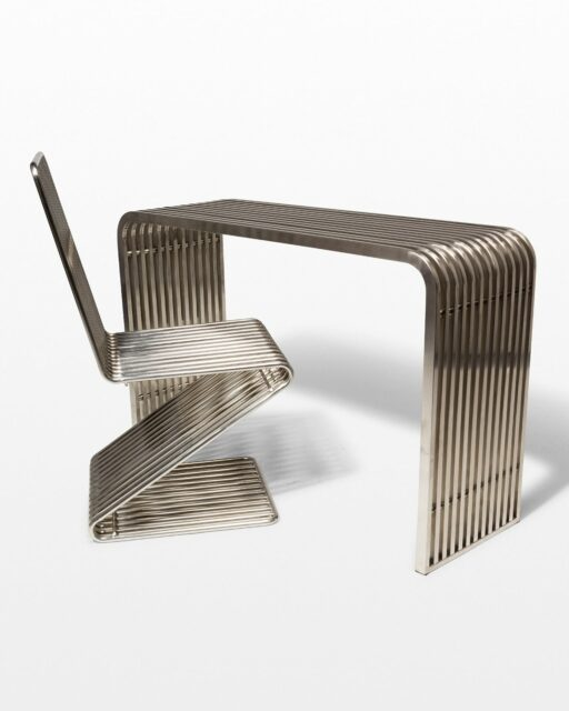 Front view of Silver Stripe Table and Chair Set