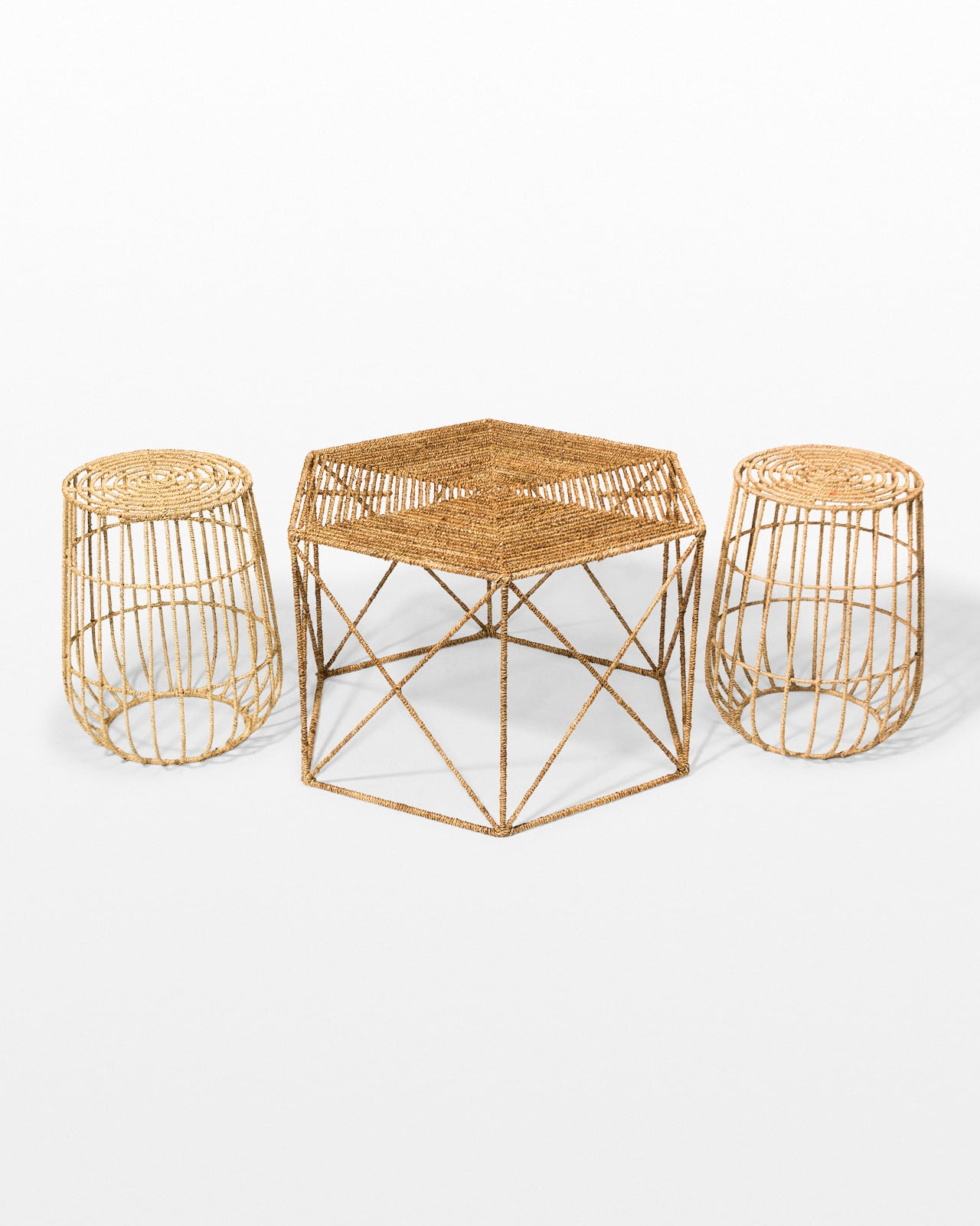 Tb144 S Jute Coffee And Side Tables Set Prop Rental Acme Brooklyn
