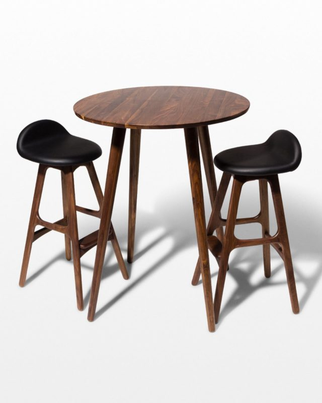 Front view of  Tacoma Walnut Bar Table and Stool Set